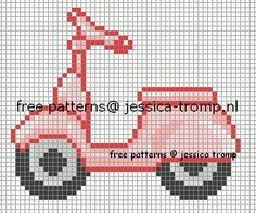 Pink Scooter Cross Stitch or Perler Bead Pattern