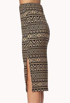 Chic Tribal Print Midi Skirt | FOREVER21 - 2002245971