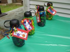 Water bottle favors.. i like the idea for my daughter's gymnastic party..
