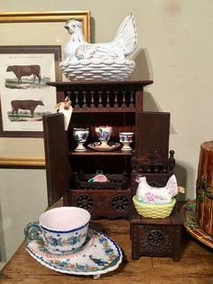 Everybody needs a little Clutter. Kitchen Vignettes, Hens On Nest, Lovers Lane, Clutter, Dallas, Porcelain, Basket, Fancy, Antiques