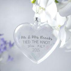 Personalised 'Wedding' Watercolour Flat Heart Bauble | notonthehighstreet.com