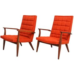 Pair of Walnut Lounge Arm Chairs by Milo Baughman