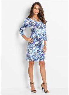 Trikåklänning, bpc selection, blå, mönstrad