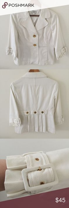 White Blazer with pleated cuffs by LOFT White Blazer with pleated cuffs and detail on the back.  Gold buttons and buckle details.  Gently worn. LOFT Jackets & Coats Blazers