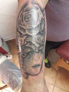 Woman and rose tattoo