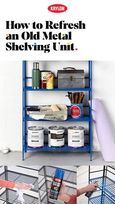 Is there anything a metal shelving unit can't do? Whether you're looking for a kitchen organizer or a patio statement piece, a few coats of Krylon spray Upcycled Home Decor, Repurposed Furniture, Diy Furniture, Diy Home Decor, Retro Furniture, Interior Design Living Room, Living Room Designs, Krylon Colors, Metal Shelving Units
