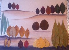 Пейзаж Leaf Crafts, Diy And Crafts, Crafts For Kids, Autumn Crafts, Summer Crafts, Ecole Art, Kindergarten Fun, Pressed Flower Art, Autumn Activities