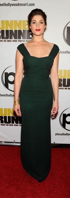 British actress Gemma Arterton wearing Burberry to the premiere of Runner Runner last night in Las Vegas, Nevada