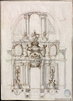 Italy and France as models  Juvarra, Filippo (Messina, 1678 - Madrid, 1736)  Project ideal for a sepulchral monument   to a military character (1707)