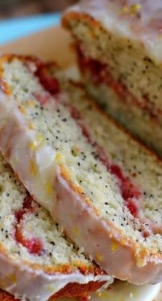 Strawberry Swirled Lemon Poppy Seed Bread