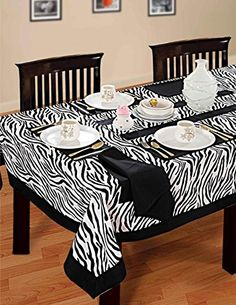 ShalinIndia Tablecloth 60 x 90 Inches for Seater 6 Feet Rectangular Center Dining Table in Indian Cotton Cloth White Black Zebra Print Tablecloths For Sale, Tablecloth Rental, Kb Homes, Dining Table In Kitchen, Dining Rooms, Table Covers, Table Linens, Home And Living, Decorating Your Home