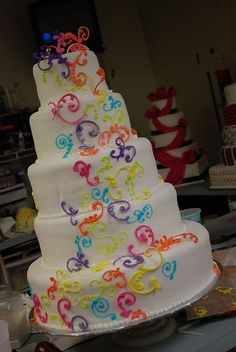 Rainbow wedding cake, Cute Lesbian Wedding Ideas, http://hative.com/cute-lesbian-wedding-ideas/,