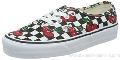Vans Womens Black Authentic Cherry Checkers Sneakers Shoes SA88002631
