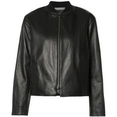 Vince zipped bomber (£845) ❤ liked on Polyvore featuring outerwear, jackets, black, zip bomber jacket, 100 leather jacket, leather zip jacket, real leather jackets and real leather bomber jacket