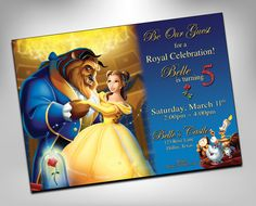 Beauty and the Beast Invitation, Beauty and the Beast Birthday, Beauty and the Beast Party, Princess Belle Invites, Disney Printables, Glitter Gold **** The Good Stuff: (In a Rush? Rush Options Below) ->To purchase, choose from digital or print options, for the quantity you are needing. ->Then choose a quantity from the dropbox with correlating prices. ->Printed invitations are printed on 15pt Cardstock, with UV Gloss, and comes with white envelopes. ->You can also choose a DIGI...