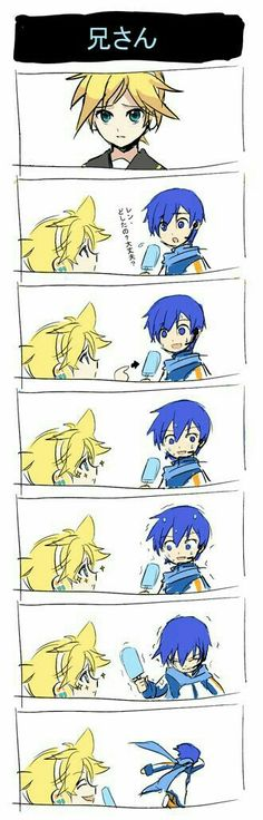 Len: Can I have it? Kaito: Oh this? Len: Yeah Kaito: *ohhhh *struggles to give Len the ice cream ( Runs Away crying ) Comic Manga, Anime Manga, Anime Guys, Vocaloid, Kawaii, Naruto Shippuden, Neko, Chibi, Kaito Shion