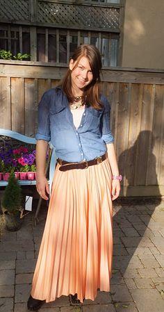 Accordion skirt, ombre shirt