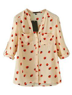 Pink Chiffon Shirt With Strawberry Print   Choies