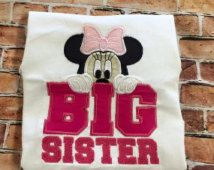 Minnie Mouse Big Sister, Big sister embroidery shirt, appliqué shirt, embroidery…