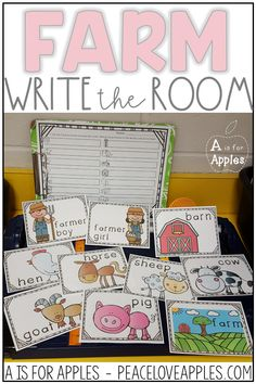 Practice reading and writing farm words with this write the room activity
