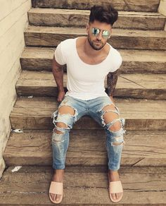 Comment Your Favourite Outfit ? 9 or 10 ? Urban Fashion, Mens Fashion, Ripped Jeans Men, Man Dressing Style, Streetwear, Moda Chic, Elegant Man, Destroyed Jeans, Sexy Feet