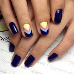 Blue gel nail polish, Blue gel polish for nails, Blue nails ideas, Blue shellac nails, Dark blue nails, Evening nails, Geometric nails, Ideas of winter nails