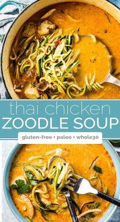 Coconut Thai Chicken Zoodle Soup is CRAZY flavorful and loaded with good for you ingredients like coconut milk, chicken, and lots of healthy zucchini. This simple recipe can be whipped up in 20 minutes for a quick and easy weeknight meal. Crispy Lemon Chicken Recipe, Chicken Leg Recipes, Chicken Meals, Paleo Menu, Paleo Soup, Paleo Diet, Best Paleo Recipes, Whole 30 Recipes, Asian Recipes