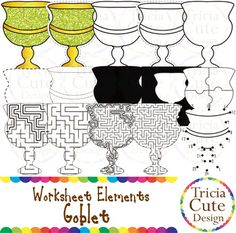 Glitter Jewish Hanukkah Chanukah Goblet Worksheet Elements Clipart! Contained in the zip file are 15 PNG files with transparent background, 300dpi and high resolution.This set includes 2 colored images and 13 black and white images.They are great for creating worksheets for tracing, cutting, drawing, counting, etc.