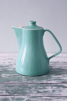 Vintage retro mid century design Melitta turquoise coffee pot made in Germany