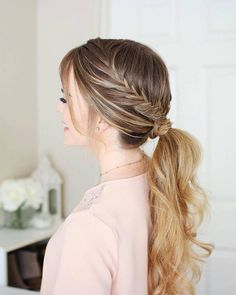 Cute Cool Girly Bridesmaid Style Alternative Prom Wedding Blonde Braided Low Ponytail Hair Style Hair Trends