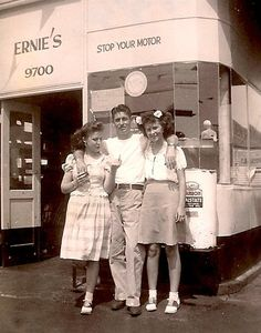 Ernie's Gas Station with Girls, 1945