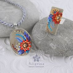FLORAL SET of ring and pendant red-gray-blue flowers by Filigrina