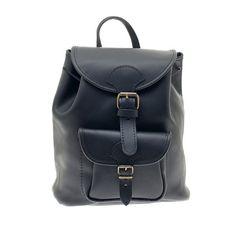 Polished Calfskin Leather Backpack, Handmade in Greece, Colors: Natural, Black