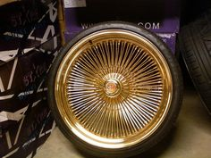"""22"""" All GOLD triple stamped dayton wire wheels"""
