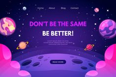 Landing page template of the universe Free Vector Web Design, Design Sites, Game Ui Design, Page Design, Flat Design, Page Template, Templates, Overlays, Futuristic Background