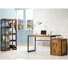 mid century industrial style home office collection overstockcom shopping the best deals baybrin rustic brown home office small