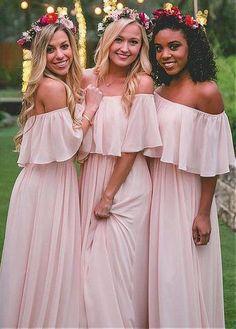 Attractive Chiffon Off-the-shoulder Neckline Floor-length A-line Bridesmaid Dress