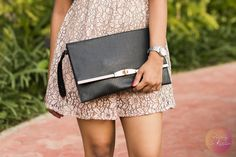 A blush pink skater dress and accessories to go with it this summer