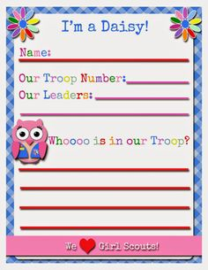 Girl Scouts: FREE Printable - Daisy Activity Sheet