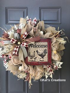 Deco Mesh Wreaths, Holiday Wreaths, Spring Wreaths, Country Wreaths, Country Decor, Rustic Wreaths, Christmas Wreaths For Front Door, Christmas Door Hangings, Wreath Crafts