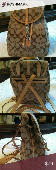 Coach Signature Mini Backpack Coach Signature mini backpack in gently used condition no stains no tears Coach Bags Backpacks