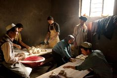 Mutton Pies Uygurs, a Muslim ethnic minority in China's Xinjiang region, make mutton pies in a restaurant kitchen.  PHOTOGRAPH BY CAROLYN DRAKE, NATIONAL GEOGRAPHIC
