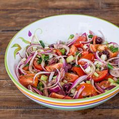 Tomato salad with celery red onions and oregano and more. Simply love those Campari tomatoes. Celery Salad, Onion Salad, Tomato Salad, Healthy Salad Recipes, Vegetarian Recipes, Easy Salads, Stuffed Green Peppers, Lunches And Dinners, Soup And Salad