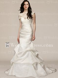Satin Fit-N-Flare Drop Waist Wedding Dress with Pick-ups DE260N
