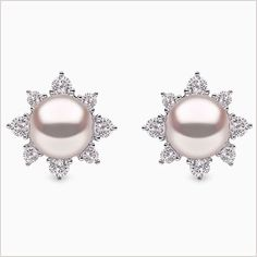 Yoko London Freshwater pearl and diamond earrings, set in white gold. From our Trend collection. Pearl And Diamond Earrings, White Earrings, Diamond Studs, Earring Trends, Ear Jewelry, Jewellery, Bridal Earrings, Beautiful Earrings, Fashion Rings