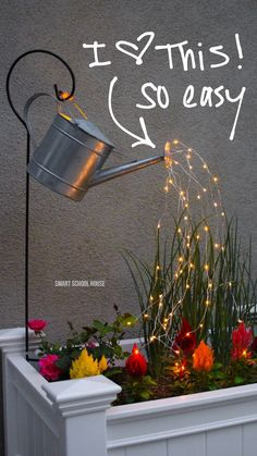 High-quality Homebuilding Magazine - An Excellent Assist In Dwelling Style And Design And Design Glowing Watering Can With Fairy Lights - How Neat Is This? It's So Easy To Make Hanging Watering Can With Lights That Look Like It Is Pouring Water. Garden Yard Ideas, Garden Crafts, Diy Garden Decor, Garden Art, Garden Tools, Simple Garden Ideas, Yard Art Crafts, Garden Whimsy, Outdoor Garden Decor