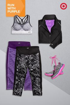 Don't think you can pull off purple? Just add a neutral color to compliment the rest of your workout gear. Try the C9 Champion Seamless Sports Bra, Premium Run Jacket and bold, printed Seamless Capri Tights for added flair.