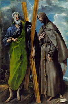 El Greco St Andrew and St Francis hand painted oil painting reproduction on canvas by artist Spanish Painters, Spanish Artists, Francis Of Assisi, St Francis, Renaissance Espagnole, Figure Drawing Books, St Andrews, Religious Art, Art History