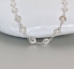 Shop unique handmade goods from OneYellowButterflyy. Sterling Silver Anklet, Silver Anklets, Cute Gifts For Her, Ethical Fashion, Spiral, Chains, Artisan, Bracelets, Handmade