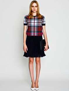 Check Pullover with British Check Pleated Skirt / LE CIEL BLEU